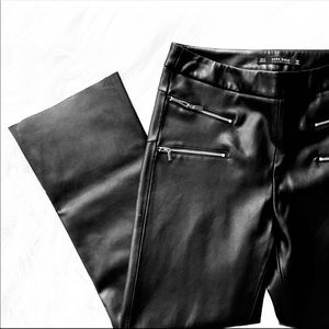 "Zara High Rise Black Faux Leather Jeans 28"" Waist"